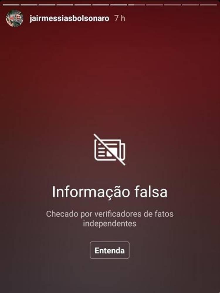 Instagram penalizou Bolsonaro por publicação de Fakenews