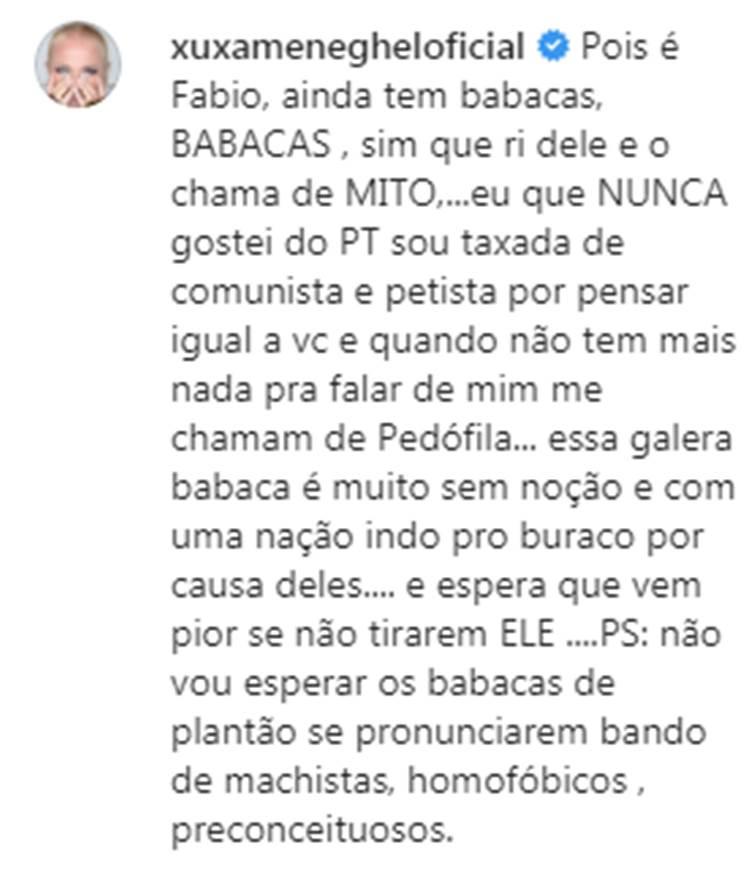 Xuxa apoia o impeachment e chama bolsonaristas de babacas
