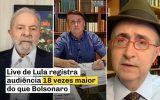 Live de Lula registra 18 vezes mais audiência que live do Bolsonaro