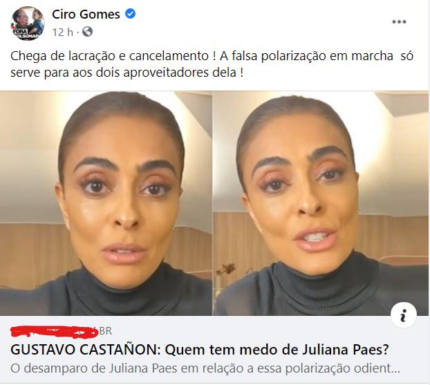 Ciro Gomes defende Juliana Paes Chega de lacração